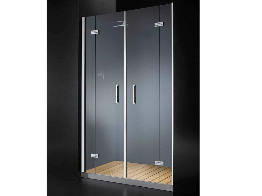 Niche glass shower cabin with hinged door with tray ELITE B10 by RARE