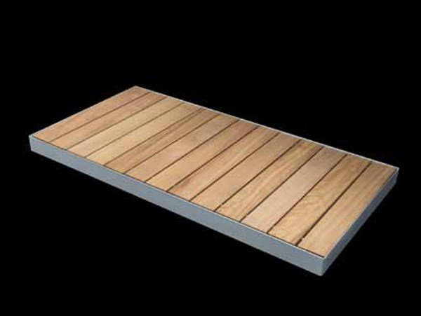 Slatted rectangular steel and wood shower tray STEEL | Shower tray - RARE