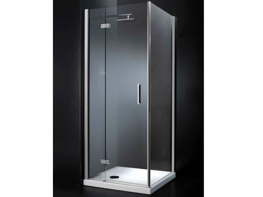 Crystal shower cabin with hinged door RETTANGOLO A11 by RARE