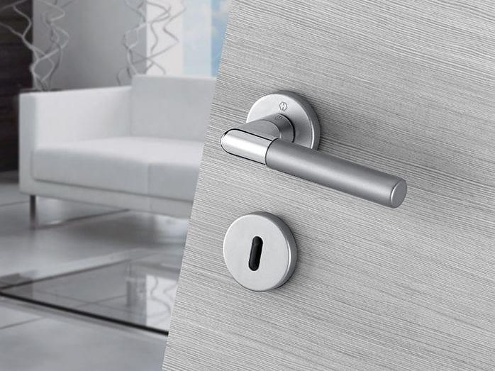 Aluminium door handle on rose with lock LECCE   Aluminium door handle - HOPPE
