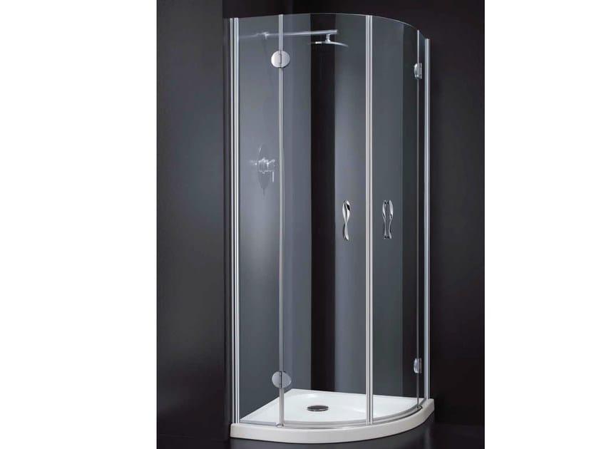 Corner semicircular crystal shower cabin LIGHT A10 - RARE