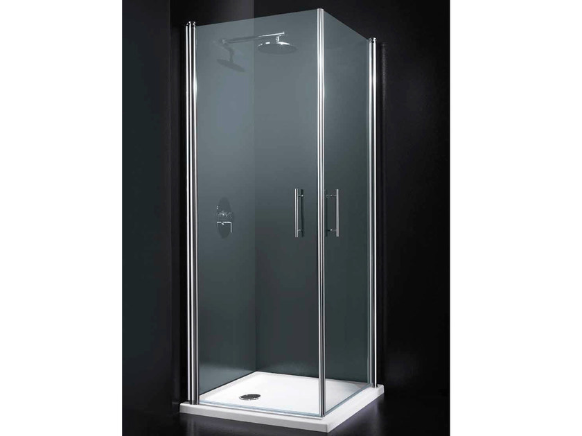 Corner tempered glass shower cabin with hinged door SEGNO A07 - RARE