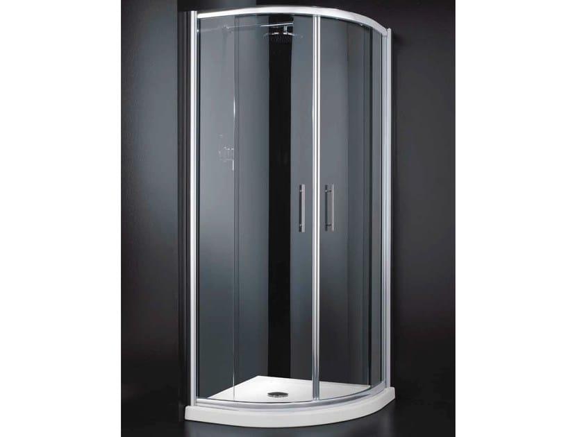 Corner semicircular glass shower cabin with sliding door INN A06 by RARE