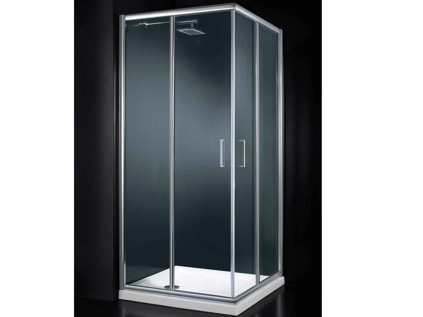 Corner glass shower cabin with sliding door GLASS A01 - RARE