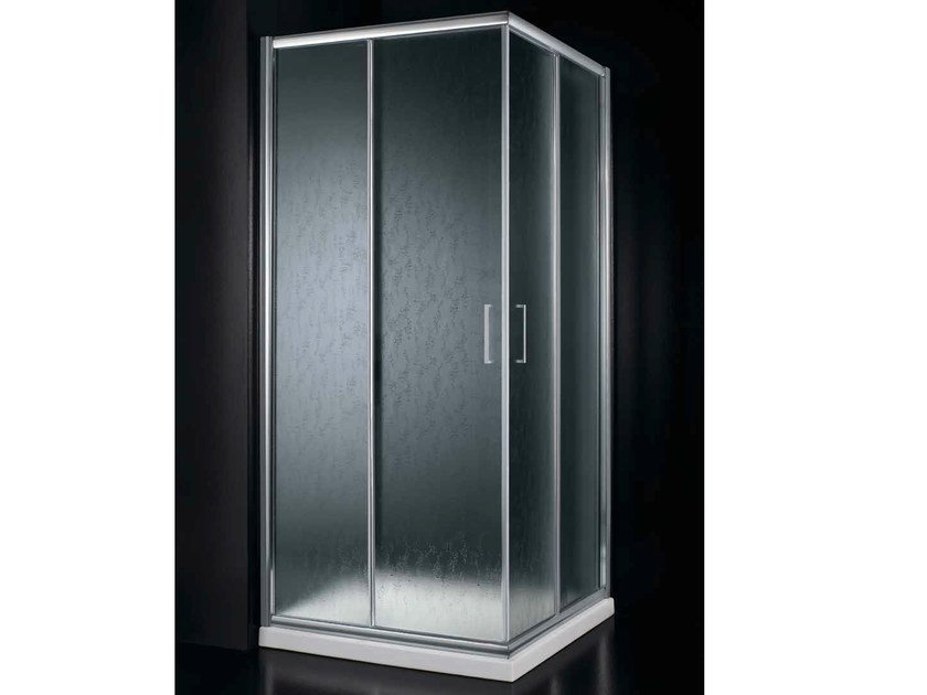 Corner acrylic glass shower cabin with sliding door AMERICA A01 - RARE