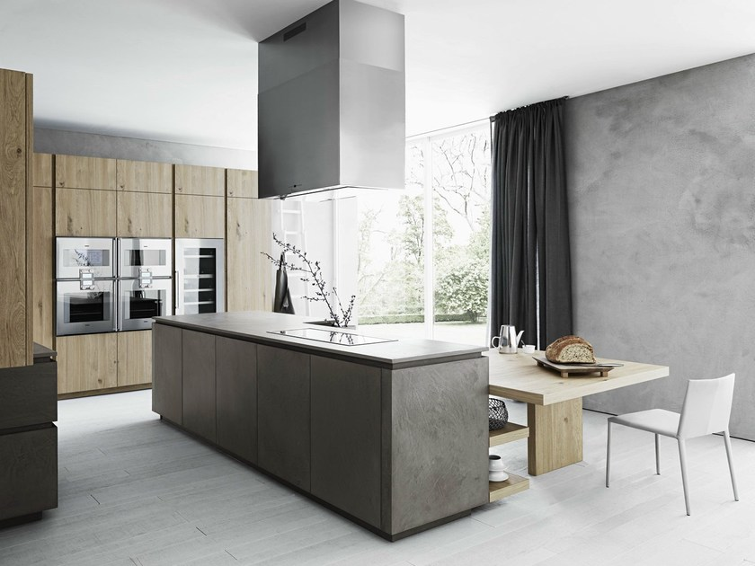Cucina con isola senza maniglie in eco cemento e rovere cloe ...