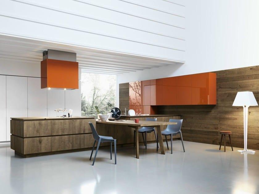 Oak fitted kitchen without handles CLOE - COMPOSITION 3 - Cesar Arredamenti