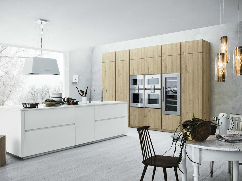 Fitted kitchen with island without handles CLOE - COMPOSITION 4 - Cesar Arredamenti