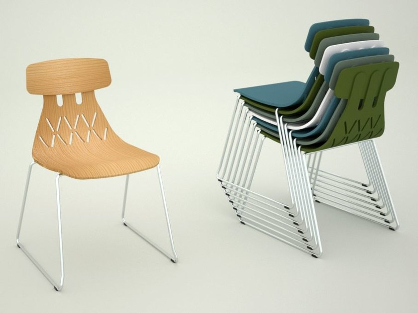 Sled base stackable chair MILLA | Sled base chair - Crassevig