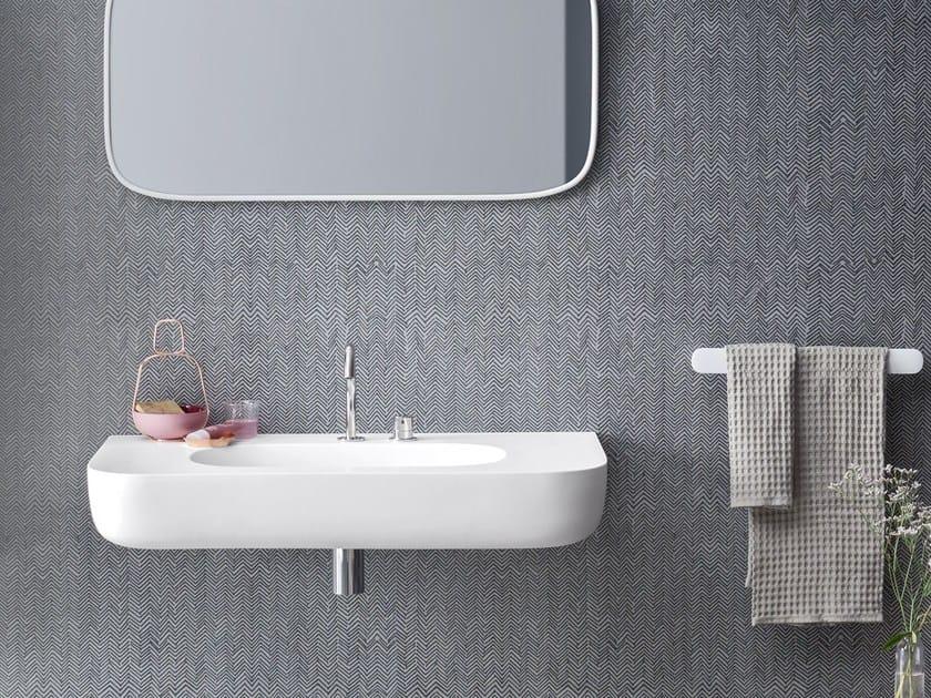Corian® washbasin with integrated countertop ESPERANTO | Wall-mounted washbasin - Rexa Design