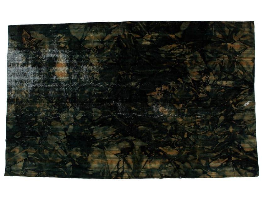 Vintage style handmade rectangular rug DECOLORIZED BLACK by Golran