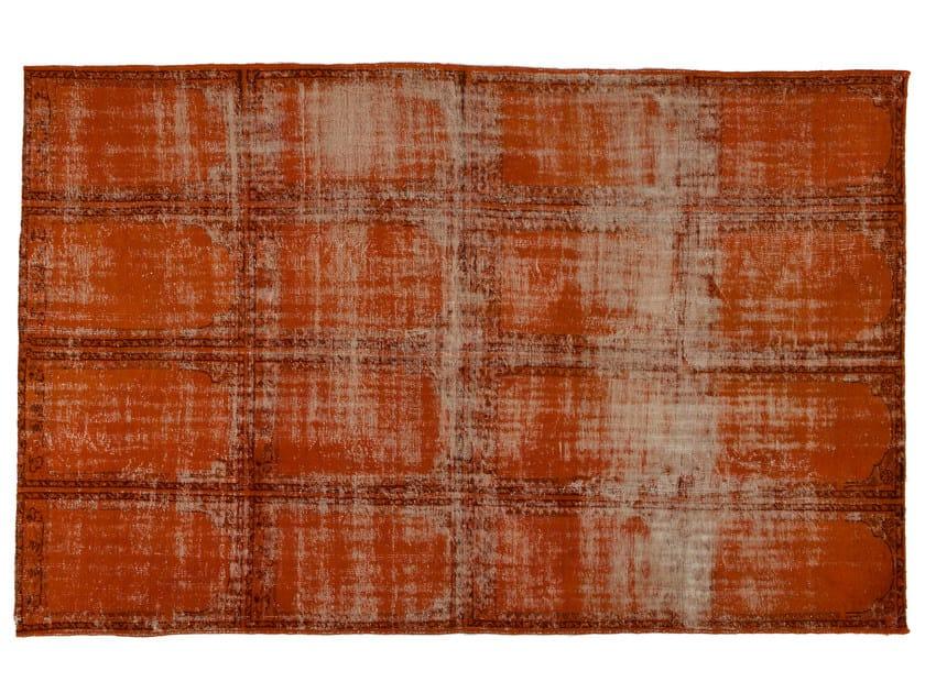 Vintage style handmade rectangular rug DECOLORIZED ORANGE by Golran