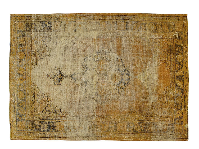 Vintage style handmade rectangular rug DECOLORIZED YELLOW - Golran