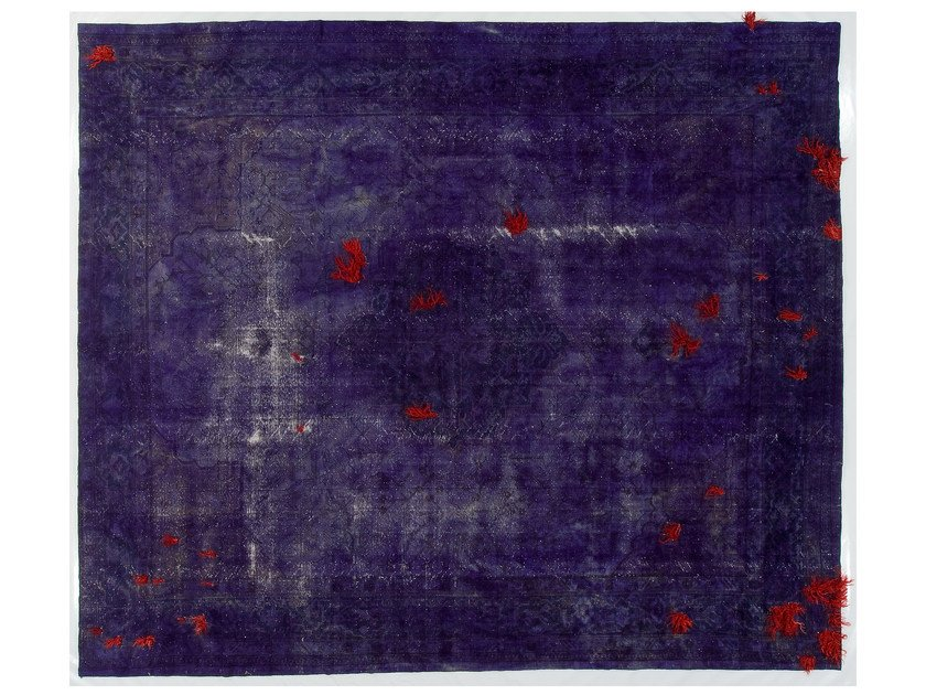 Vintage style handmade rectangular rug DECOLORIZED MOHAIR DARK PURPLE by Golran
