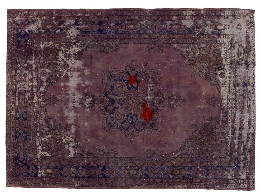 Vintage style handmade rectangular rug DECOLORIZED MOHAIR LILLA - Golran