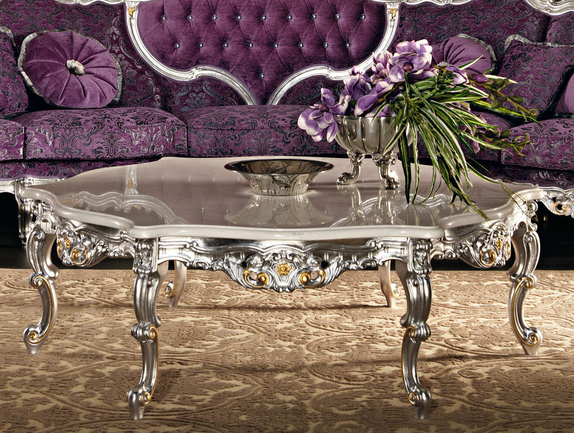 Luxury figured coffee table marble carved silver leaf - Villa Venezia Collection - Modenese Gastone