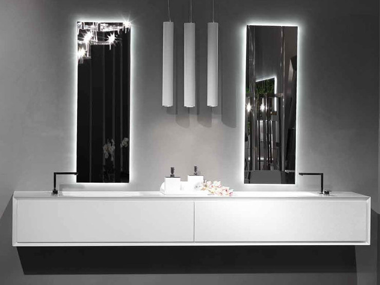 Lacquered wall-mounted vanity unit K.ONE | Double vanity unit - RIFRA