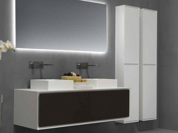 Tall suspended bathroom cabinet K.ONE | Tall bathroom cabinet - RIFRA