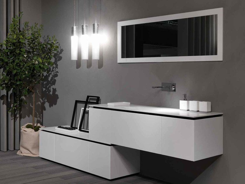 Sectional lacquered vanity unit K.FORTY | Sectional vanity unit - RIFRA