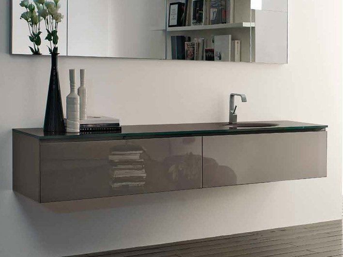 Lacquered wall-mounted vanity unit B2K | Single vanity unit - RIFRA