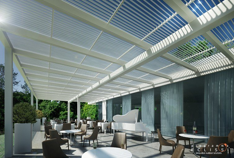 Motorized aluminium pergola with adjustable louvers LONGWAY TETTOIA by DIRELLO