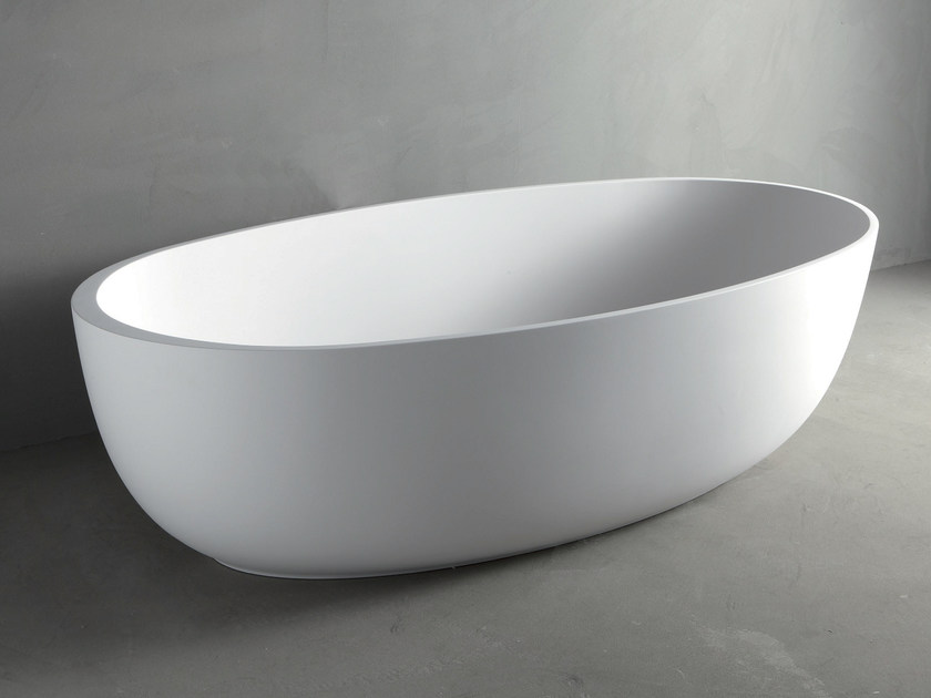 Vasca da bagno centro stanza ovale in mineralmarmo round by rifra - Vasca da bagno ovale ...