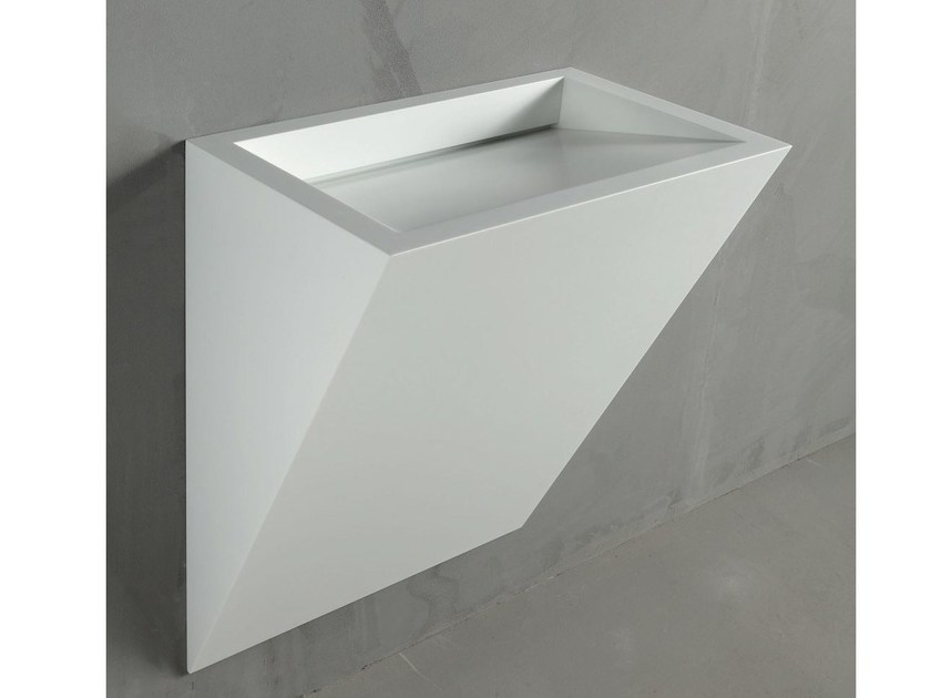 Wall-mounted Corian® washbasin GAP TO WALL 06 - RIFRA