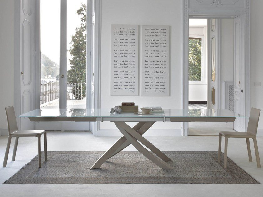 Extending rectangular table ARTISTICO | Wood and glass table - Bontempi Casa
