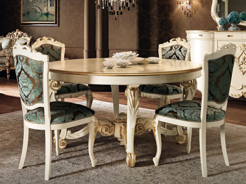 Round solid wood table 11117 | Table - Modenese Gastone group