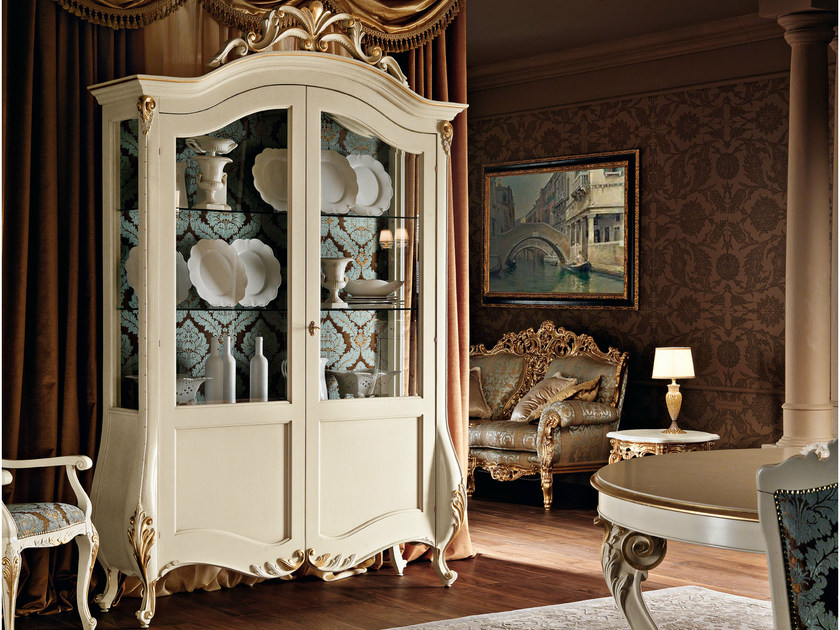 Glass cabinet carved gold leaf applications - Villa Venezia Collection - Modenese Gastone