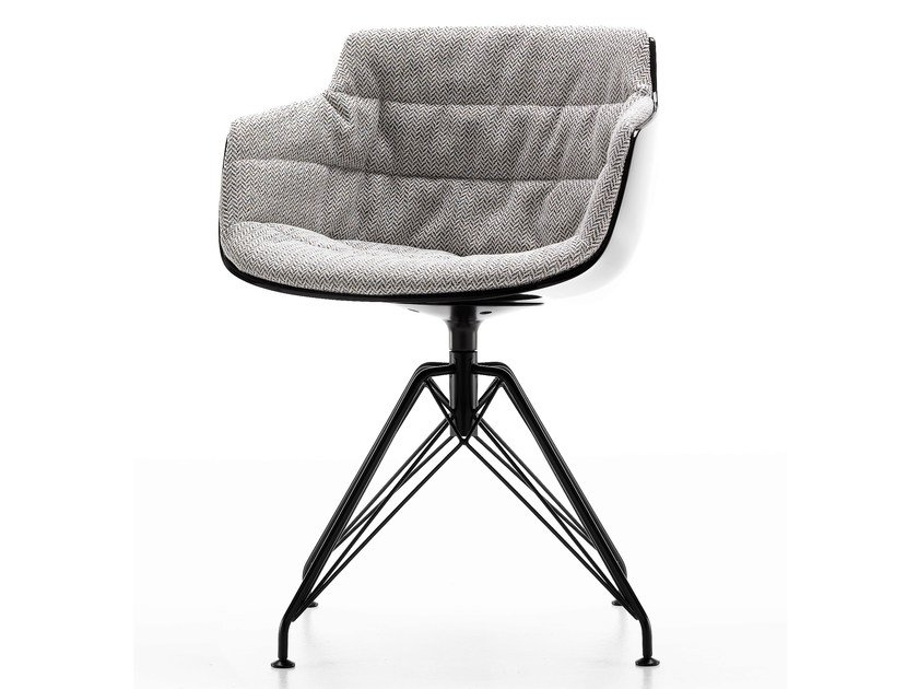 Swivel trestle-based fabric chair with armrests FLOW SLIM | Trestle-based chair - MDF Italia