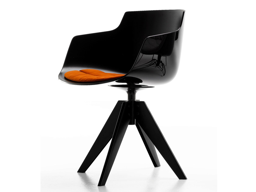 Swivel trestle-based polycarbonate chair with armrests FLOW SLIM | Polycarbonate chair - MDF Italia