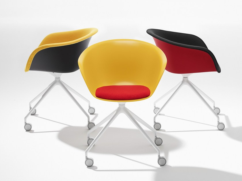 Trestle-based polypropylene chair with casters DUNA 02 | Chair with casters - Arper