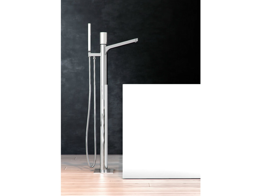 Chrome-plated bathtub tap with flow limiter NOMOS GO | Floor standing bathtub tap - FIMA Carlo Frattini