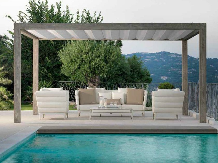 Freestanding wooden pergola with sliding cover UPPER WOOD | Pergola by Talenti