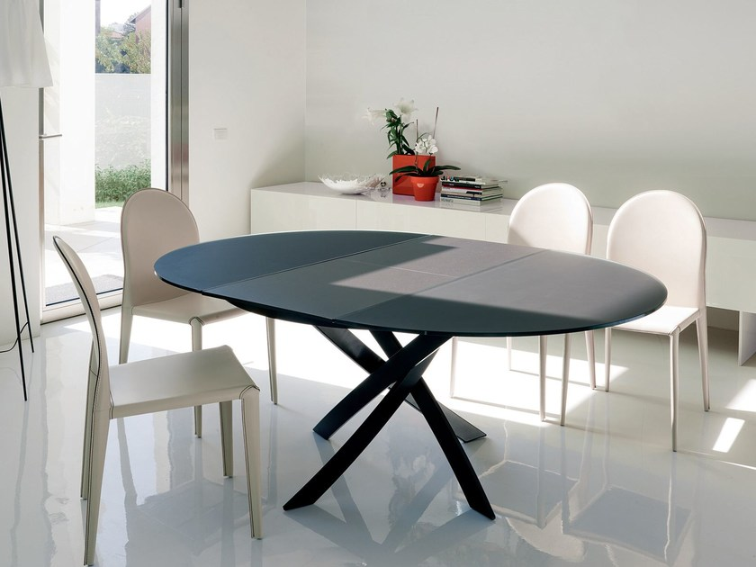 tavolo ovale in cristallo barone | tavolo allungabile - bontempi casa - Tavoli Moderni Design Allungabili