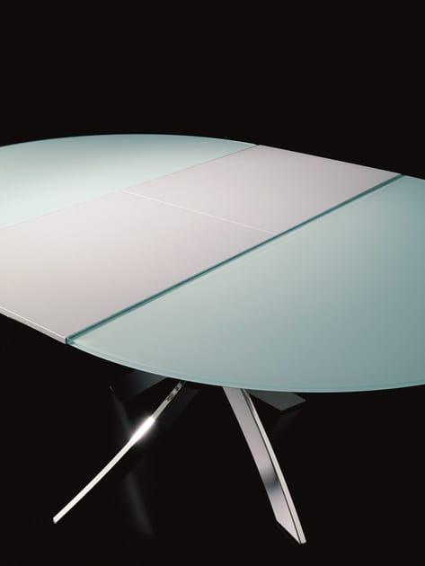 Tavolo ovale in cristallo barone tavolo allungabile for Tavolo rotondo allungabile design