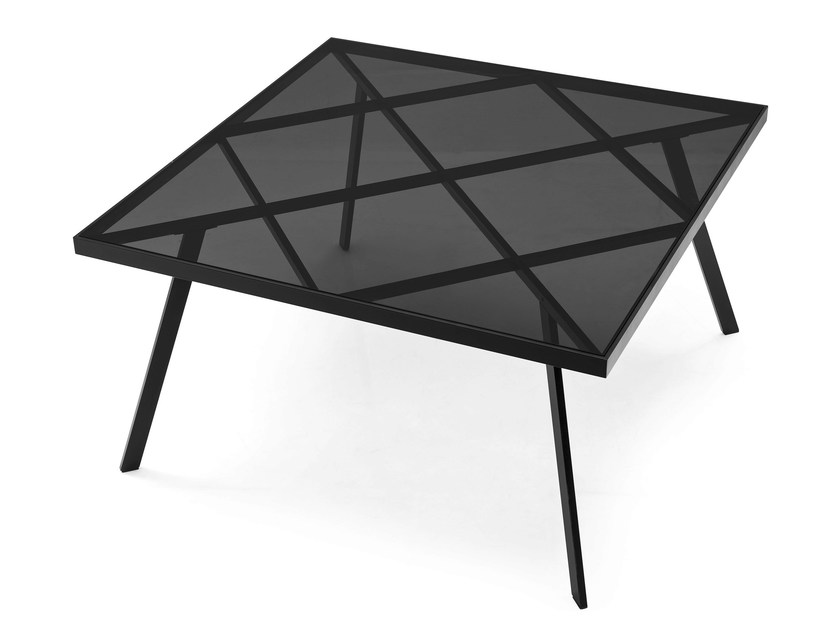 Square glass and steel table FRAME | Square table by Calligaris