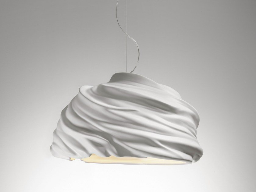 LED direct light ceramic pendant lamp CYCLONE by Fabbian