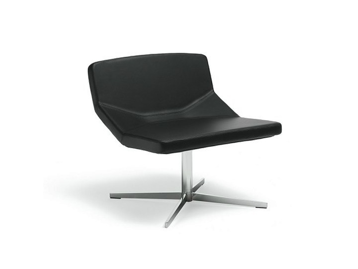 Leather easy chair with 4-spoke base FORMULA LOUNGE X-FOOT - AREA DECLIC