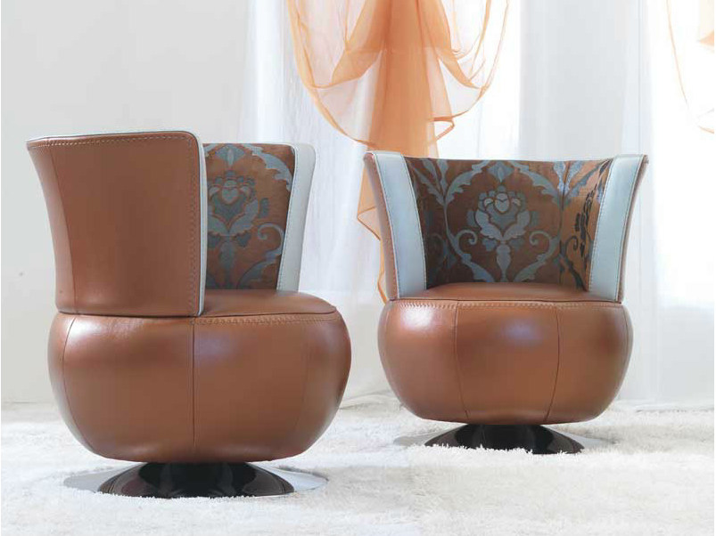 Upholstered leather easy chair MOKA | Easy chair - Formenti