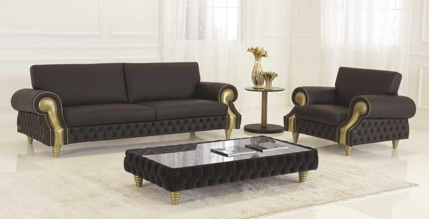 Tufted leather sofa VENICE | Leather sofa - Formenti