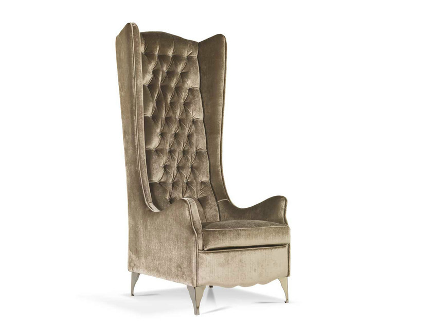 Tufted high-back fabric armchair with armrests NINA LUXURY | Fabric armchair - Formenti