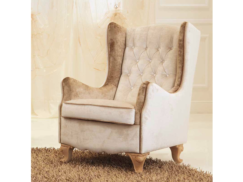 Tufted upholstered fabric armchair with armrests NINA | Fabric armchair - Formenti
