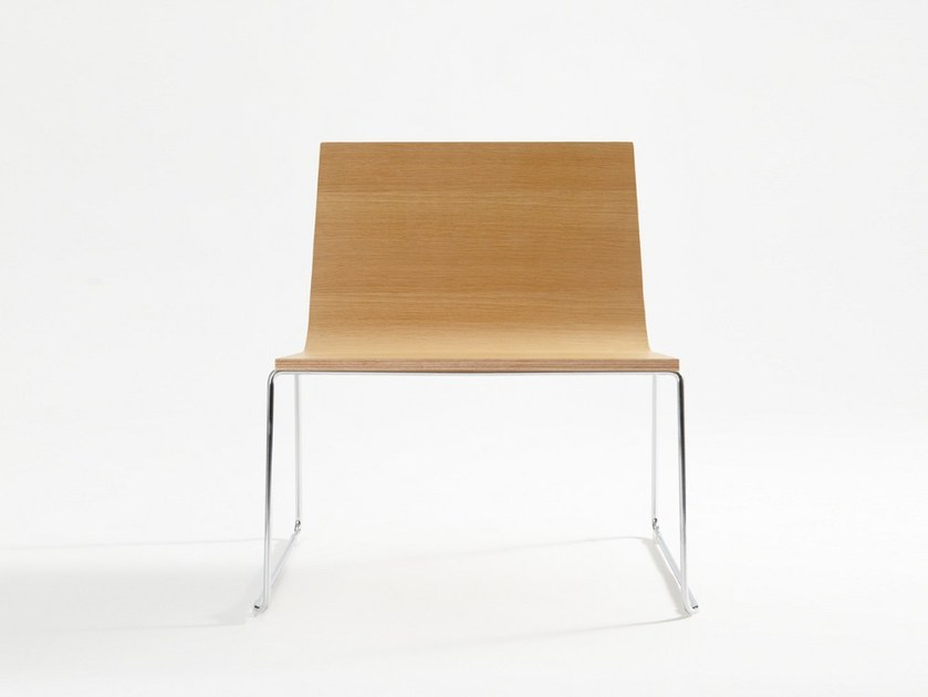 Sled base wooden chair BOOMERANG XL - ONDARRETA