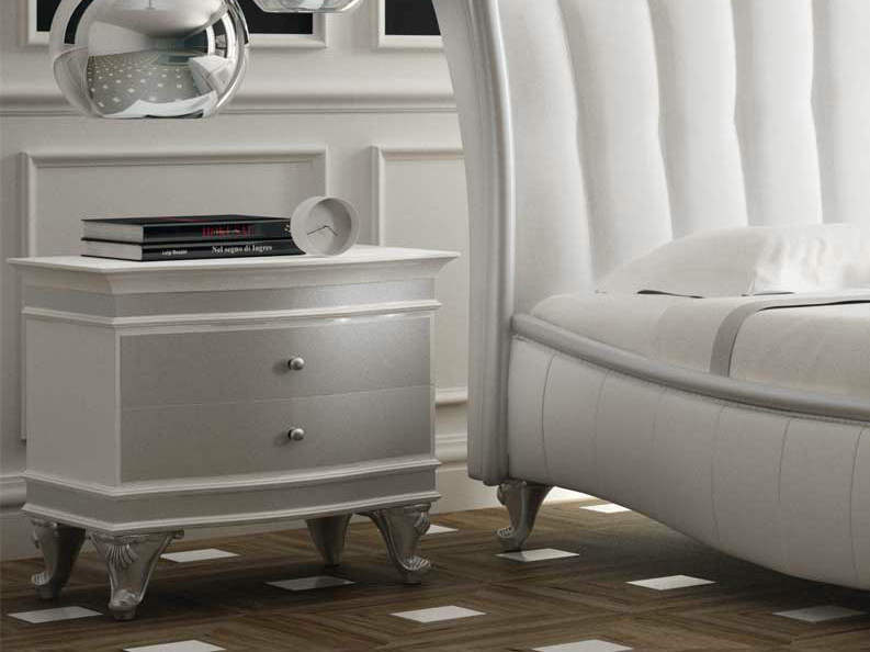 Lacquered wooden bedside table with drawers VELVET   Bedside table - Formenti