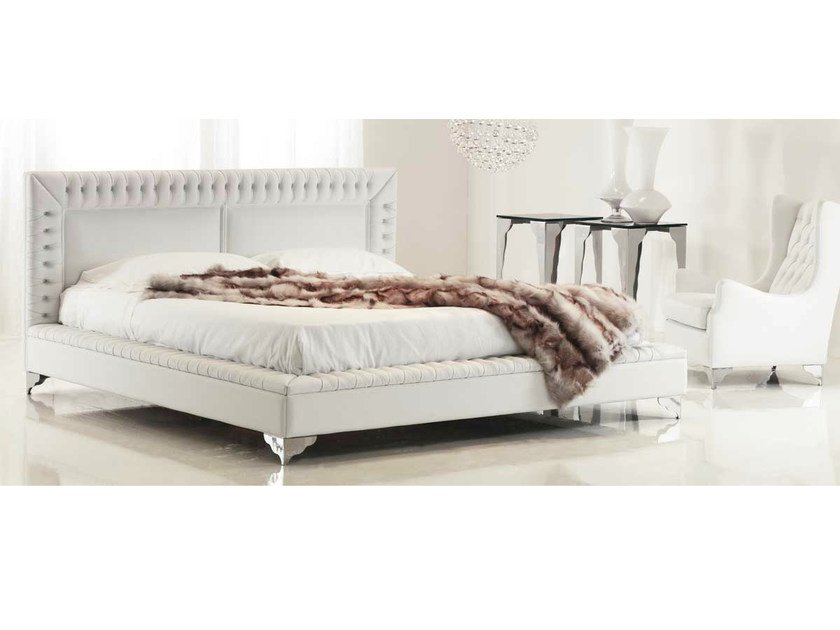 Upholstered fabric double bed with upholstered headboard SYMBOL - Formenti
