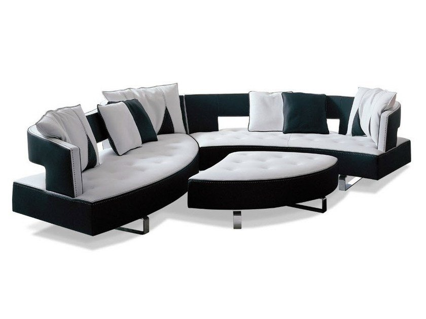Sectional leather sofa HEART by Formenti