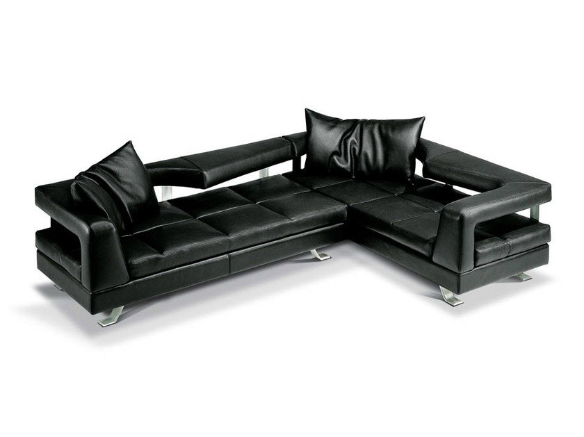Corner sectional leather sofa WAVE - Formenti
