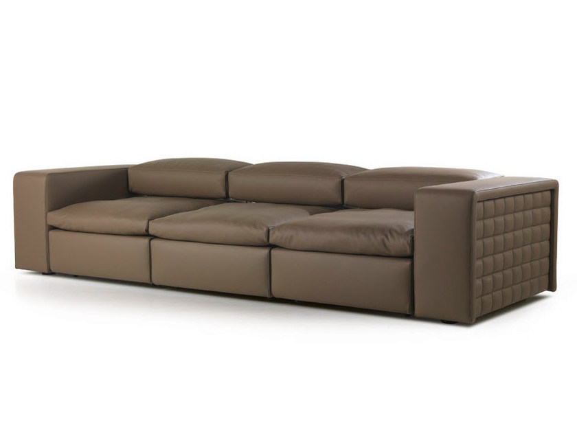 Recliner 3 seater leather sofa with headrest SLIDE - Formenti